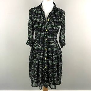eShakti Dress S Hearts Print Button Ruched Pleated